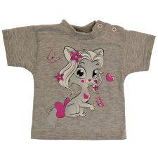 Bluzeczka krótki rękaw szara dla dziewczynki