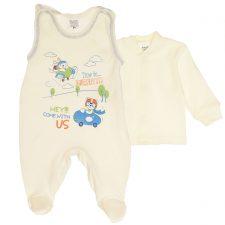 Komplet niemowlęcy ekri-niebieski