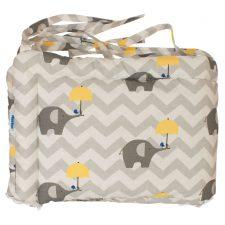 Ochraniacz do łóżeczka 160/30-słonie szare z parasolką