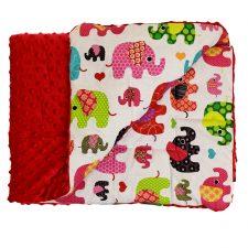 Kocyk Minky czerwony kolorowe słonie