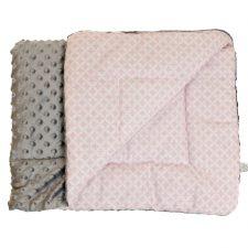 Kocyk Minky szary różowe plastry
