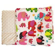 Kocyk Minky ekri kolorowe słonie