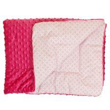 Kocyk Minky amarant plastry różowe