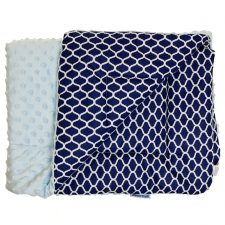Kocyk Minky niebieski granatowe plastry