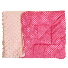 Kocyk Minky różowy kropki