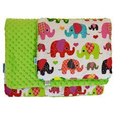 Komplet do wózka minky seledynowy kolorowe słonie