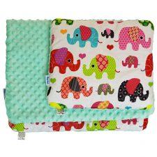 Komplet do wózka minky miętowy kolorowe słonie